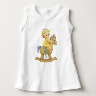 Vintage Feel Baby Girl Dress~Rocking Horse Dress
