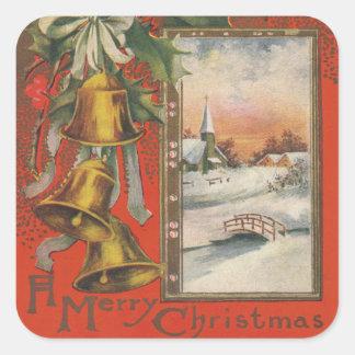 """Vintage """"Felices Navidad"""" con Belces Pegatina Cuadrada"""