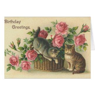 Vintage - feliz cumpleaños - rosas y gatos tarjeta de felicitación