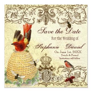 Vintage feliz de la abeja - ahorre la invitación