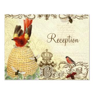 Vintage feliz de la abeja - invitación de la
