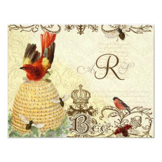 Vintage feliz de la abeja - tarjeta de la invitación 10,8 x 13,9 cm