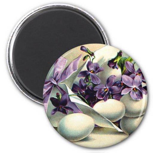 Vintage feliz de las violetas y de los huevos de imán redondo 5 cm