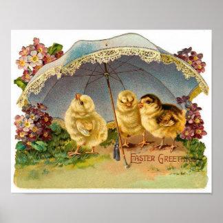Vintage feliz de los polluelos de Pascua Posters