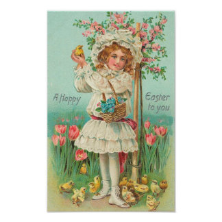 Vintage feliz del chica de Pascua Impresiones