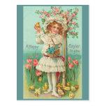 Vintage feliz del chica de Pascua Postales