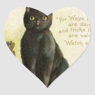 Vintage feliz Halloween - gato negro y calabazas Pegatina En Forma De Corazón
