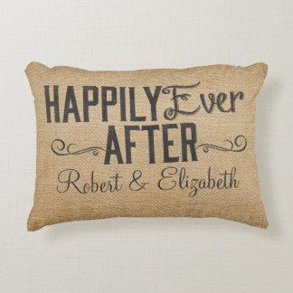Vintage feliz nunca después de arpillera cojín decorativo