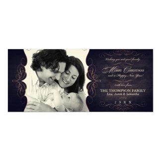 "Vintage Felt Black and Sepia Christmas Photo 4"" X 9.25"" Invitation Card"