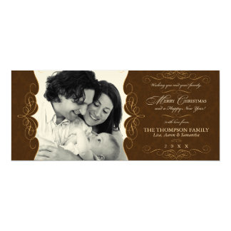 "Vintage Felt Chocolate Brown Christmas Photo 4"" X 9.25"" Invitation Card"