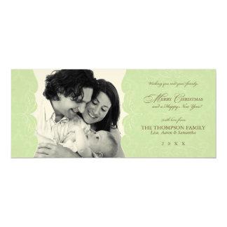 "Vintage Felt Mint Green Christmas Photo 4"" X 9.25"" Invitation Card"