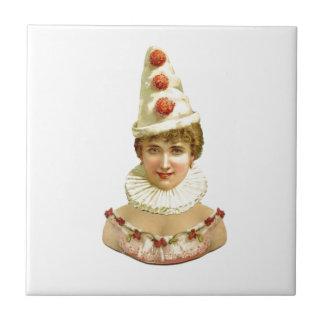 Vintage Female Clown Ceramic Tile
