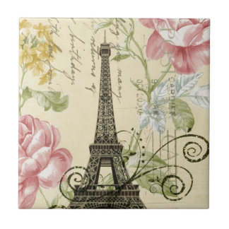 vintage femenino de la torre Eiffel de París de la Azulejo Cuadrado Pequeño