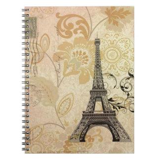 vintage femenino de la torre Eiffel de París de la Libro De Apuntes Con Espiral