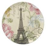 vintage femenino de la torre Eiffel de París de la Plato Para Fiesta