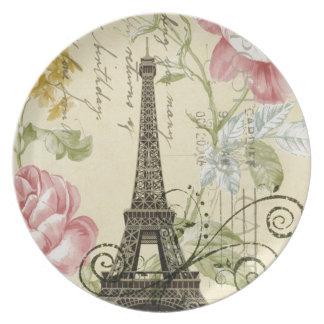 vintage femenino de la torre Eiffel de París de la Platos Para Fiestas