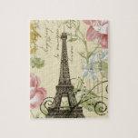 vintage femenino de la torre Eiffel de París de la Puzzle