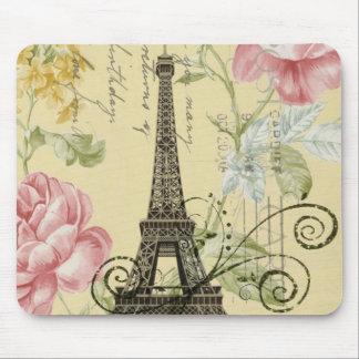 vintage femenino de la torre Eiffel de París de la Tapetes De Raton