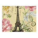 vintage femenino de la torre Eiffel de París de la Tarjeta Postal