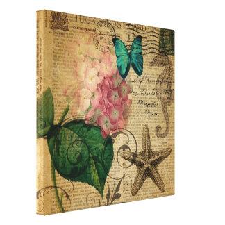 vintage femenino elegante París de la mariposa del Impresion De Lienzo