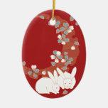 Vintage femenino lindo del conejo blanco ornamentos de navidad