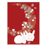 Vintage femenino lindo del conejo blanco tarjeta postal