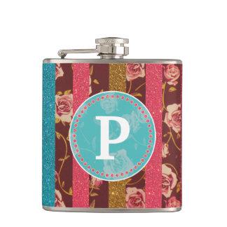 Vintage Feminine Glitter and Floral Monogram Hip Flask