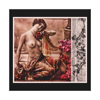 Vintage Femme Impresión En Lona Estirada