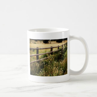 Vintage Fence and Wildflowers - Watercolor Style Coffee Mug