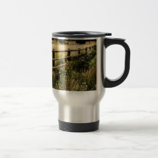 Vintage Fence and Wildflowers - Watercolor Style Travel Mug