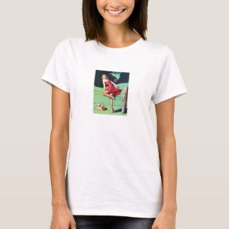 Vintage Fence Pin Up Girl T-Shirt