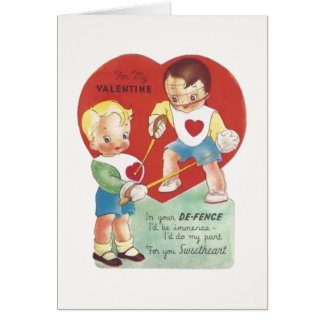 Vintage Fencer Valentine Greeting Card
