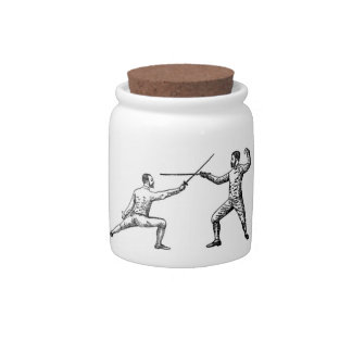 Vintage Fencers Cookie Jar Candy Jars