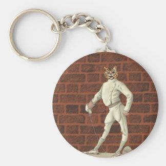 vintage fencing cat basic round button keychain