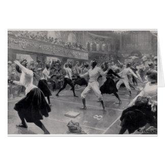 Vintage Fencing Exhibition Note Card