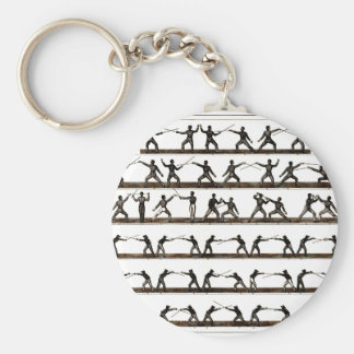 Vintage Fencing Instruction Basic Round Button Keychain