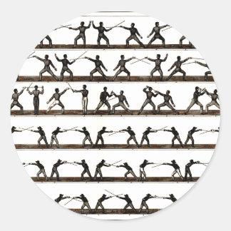 Vintage Fencing Instruction Round Sticker