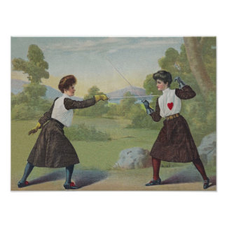 Vintage fencing victorian print. poster