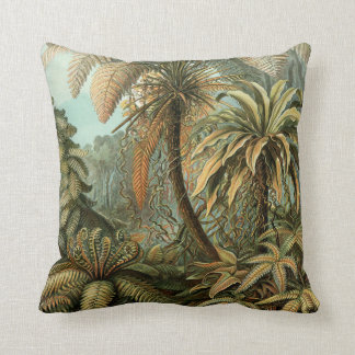 Vintage Ferns and Palm Tree Botanical Throw Pillow