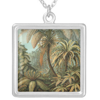 Vintage Ferns and Palm Tree Botanical Silver Plated Necklace