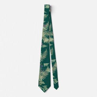 Vintage Ferns Leaves Botanical Flowers Tie