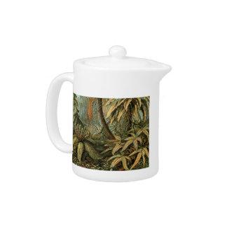 Vintage Ferns Palm Tree Botanical Drawing Teapot