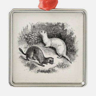 Vintage Ferret 1800s Ferrets Weasels Minks Metal Ornament