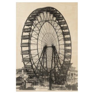 Vintage Ferris Wheel Chicago World's Fair Wood Poster