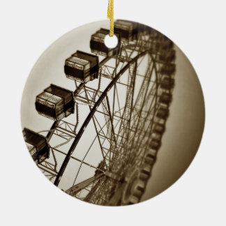 Vintage Ferris Wheel Double-Sided Ceramic Round Christmas Ornament