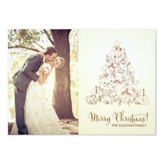 VINTAGE FESTIVE CHRISTMAS TREE HOLIDAY PHOTO CARD INVITATIONS