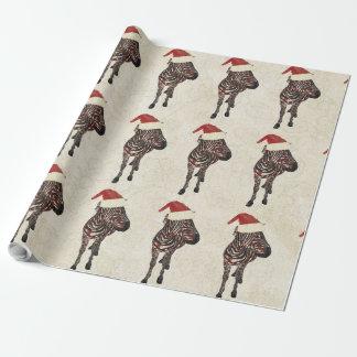 Vintage Festive Zebra Wrapping Paper