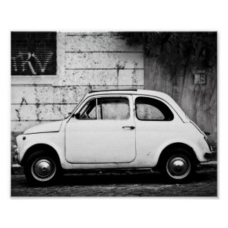 Vintage Fiat 500 Poster, in Rome, Italy. Poster