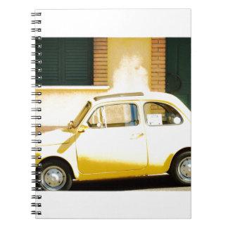 Vintage Fiat amarillo 500 en Italia Libros De Apuntes Con Espiral