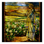 Vintage Field of Lilies Tiffany Stained Glass Poster